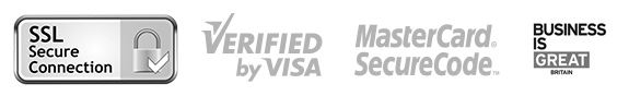 Business is Great Britain, SSL Secure Connection, Verified by Visa, Mastercard Securecode