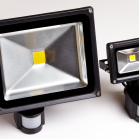 LED Floodlight 30w with PIR next to 10w with PIR