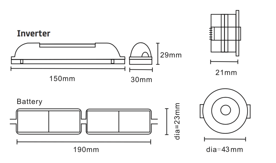 Emergency LED Downlight 3w Mini Spot Dimensions
