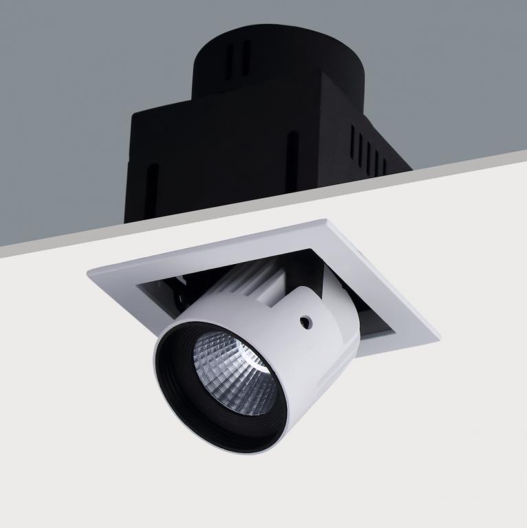 Led shop lighting 20w semi recessed spot single str391 single recessed adjustable led spotlight 20w mozeypictures Choice Image