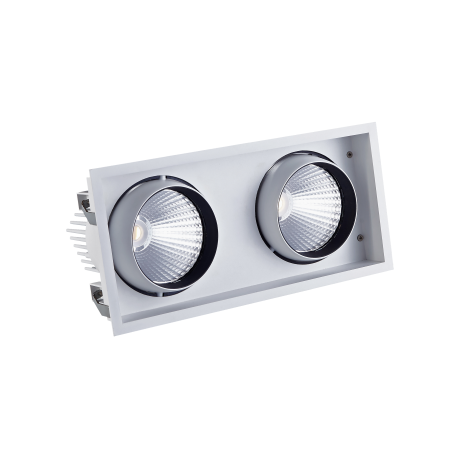 Large Twin Recessed Square LED Tiltable Downlight (STR762 AR111 Alternative)