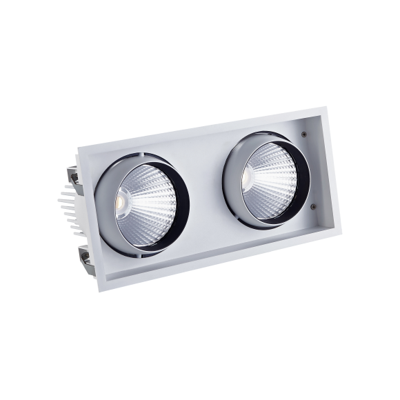 Twin Recessed Square LED Tiltable Downlight (AR111 Alternative)