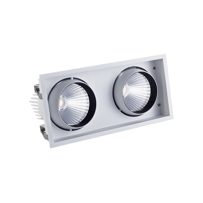 STR762 Twin Recessed Square LED Tiltable Downlight (AR111 Alternative)