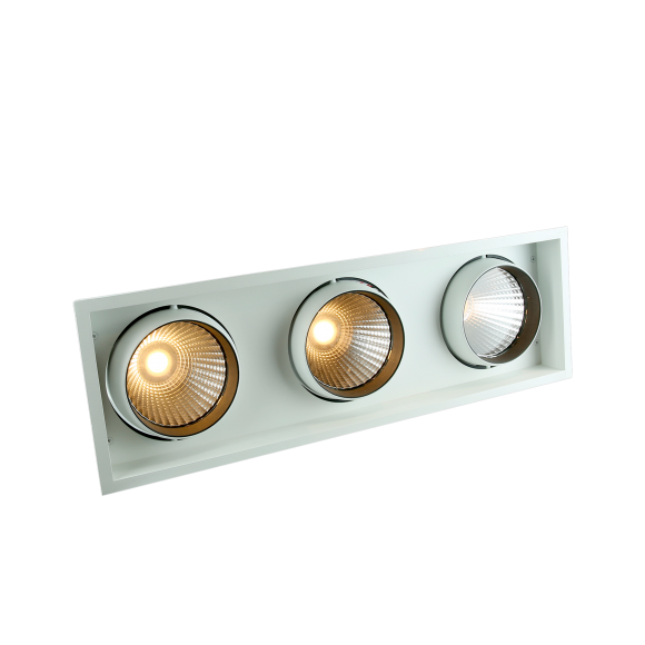 Triple Recessed Square LED Tiltable Downlight (AR111 Alternative)