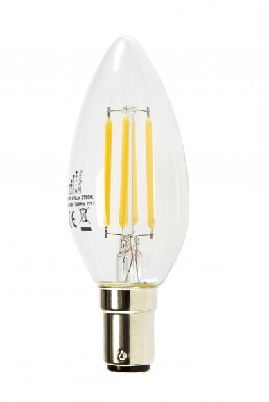 B15 4.5W Dimmable LED Filament Candle Bulb (C35)