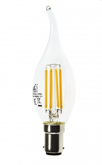 B15 LED 4.5W Flame Tip Dimmable Filament  Candle Bulb (C35L)