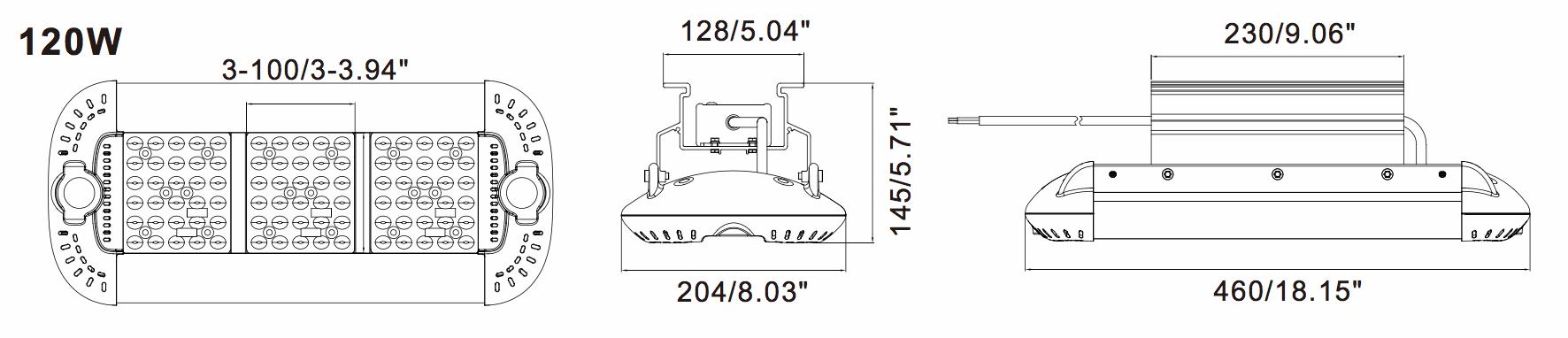 LED Low Bay LBA- 120 Dimensions