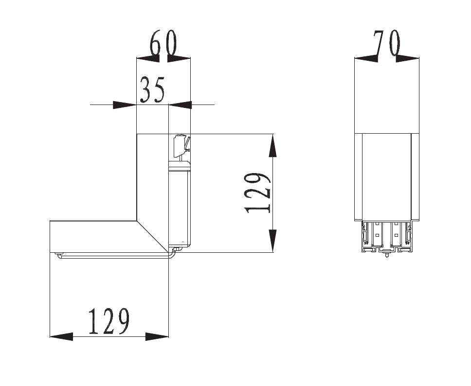 STL288 Linkable LInear LED Inside Corner. STL288-IC-4000