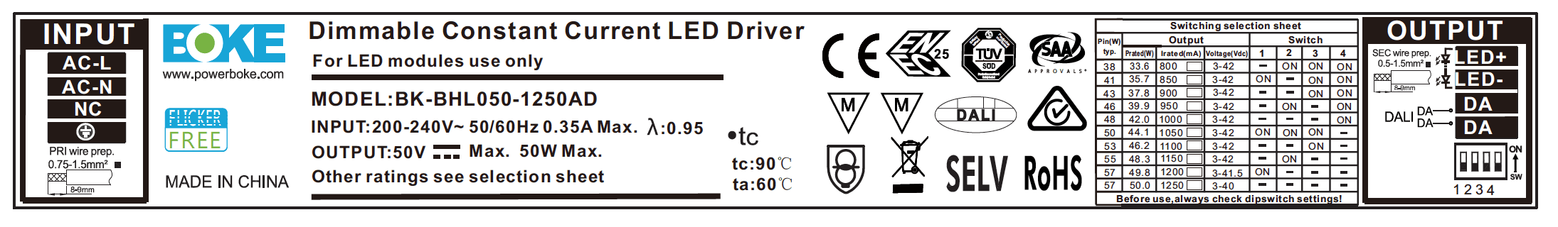 BK-BHL050-1250AD DALI Dimmable Label
