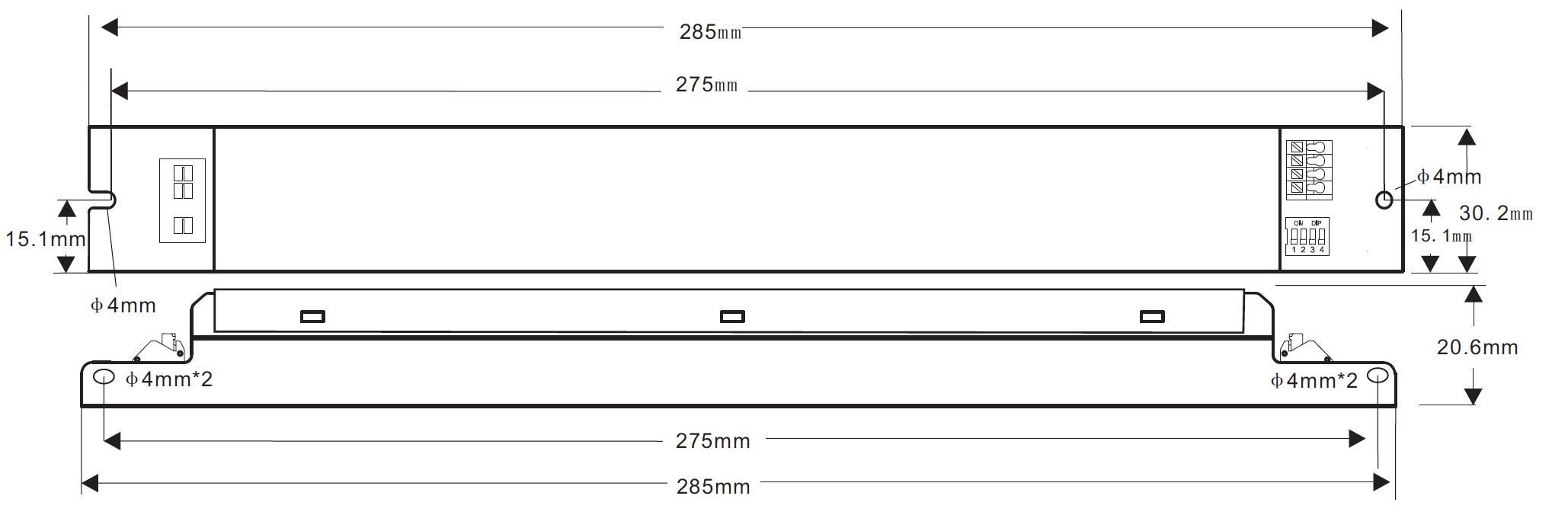 BK-BHL050-1250AD LED Driver Constant Current dimensions