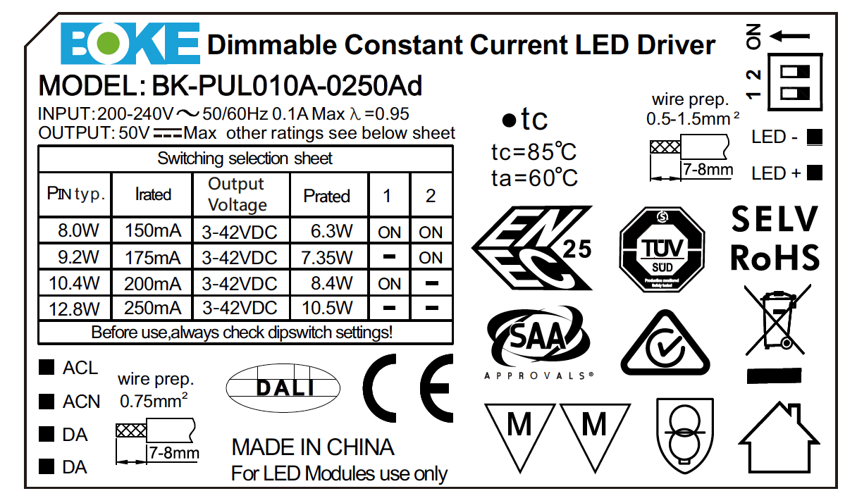 BK-PUL010A-0250Ad Label LED Driver