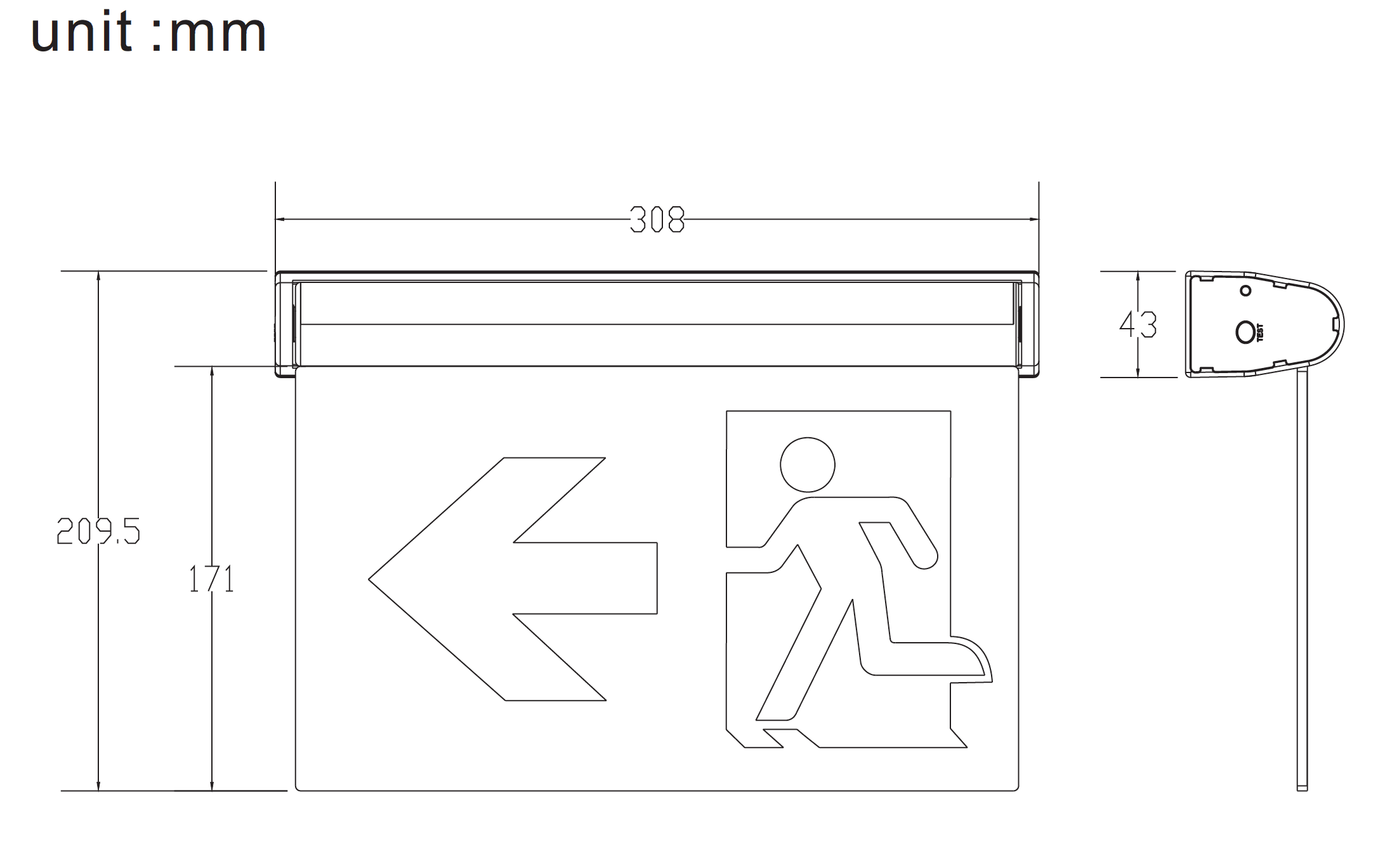 ST-ES6 LED Emergency Exit sign Dimensions