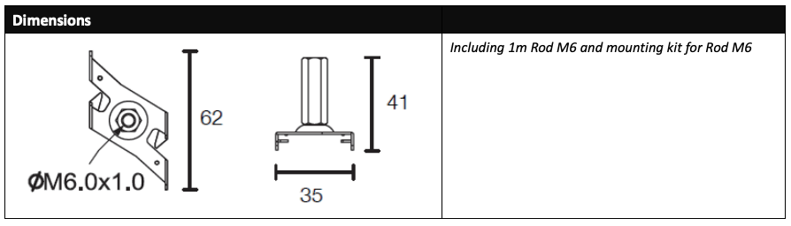 LED Track Rod suspension kit dimensions