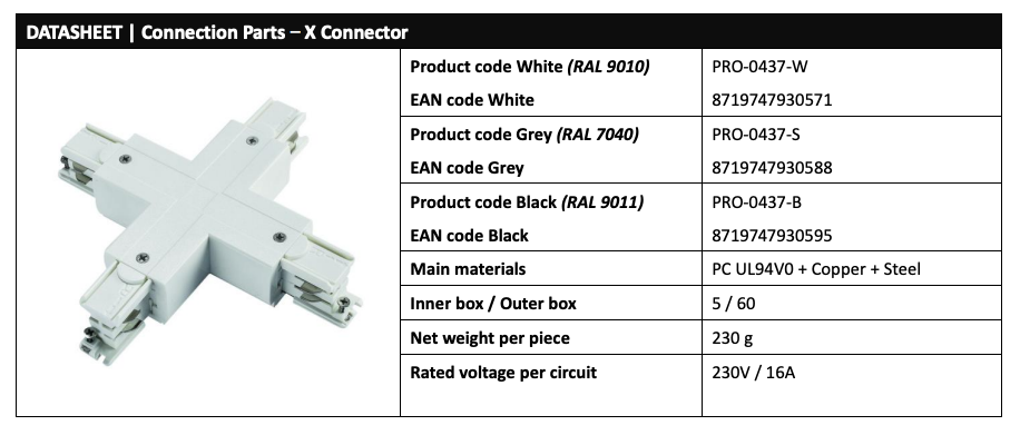 Powergear PRO-0437 LED Track Cross X Connector Data