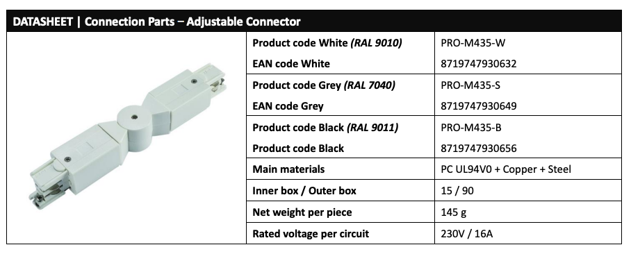 Powergear PRO-M435 LED Track Adjustable Connector Data