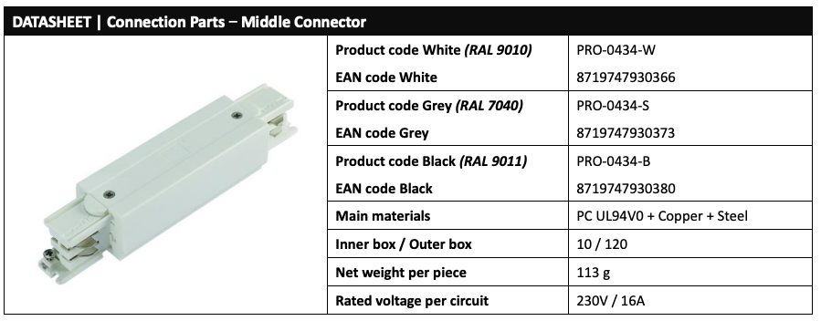 Powergear Pro-0434 LED Track Middle connector data