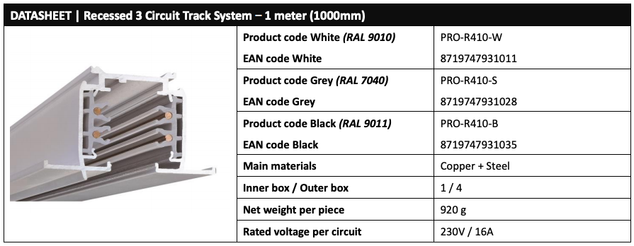 Powergear Recessed LED track Data