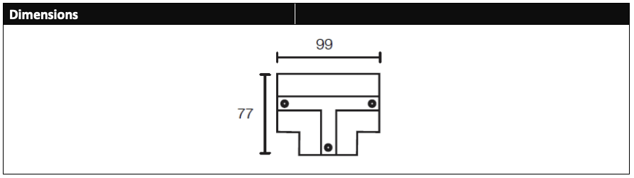 Recessed LED track, T section cover dimensions