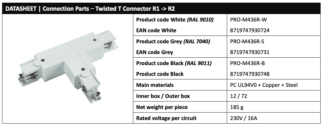 Twisted T Connector R1 to R2 Data