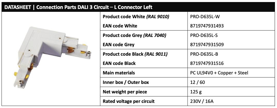 3 Circuit DALI LED Track L connector Data (Left)