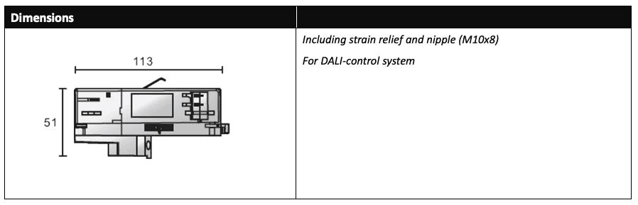 DALI 3 Circuit track Adaptor Dimensions