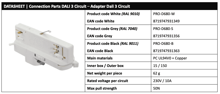 DALI 3 Circuit Adaptor Data