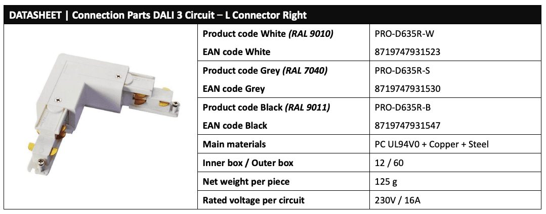 DALI 3 circuit LED Track L connector (right) Data