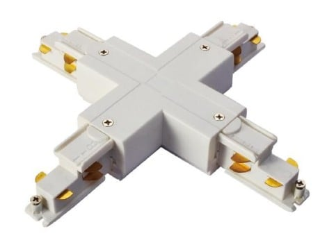 DALI 3 Circuit LED Track X Cross Connector, black or white (Powergear PRO-D637 )