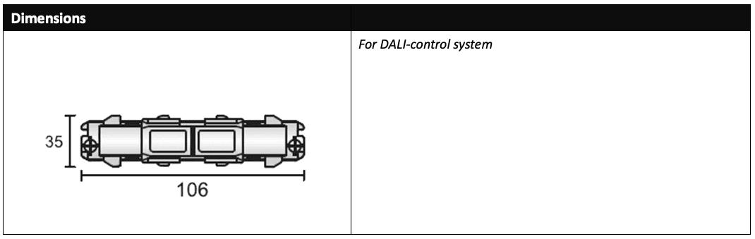 DALI 3 circuit track coupler dimensions