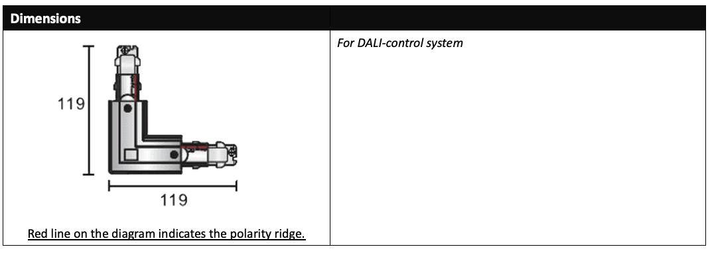 DALi 3 Circuit LED track L connector dimensions (left)
