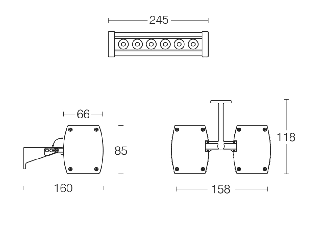 NOVA 25 LED Wall Washer Dimensions