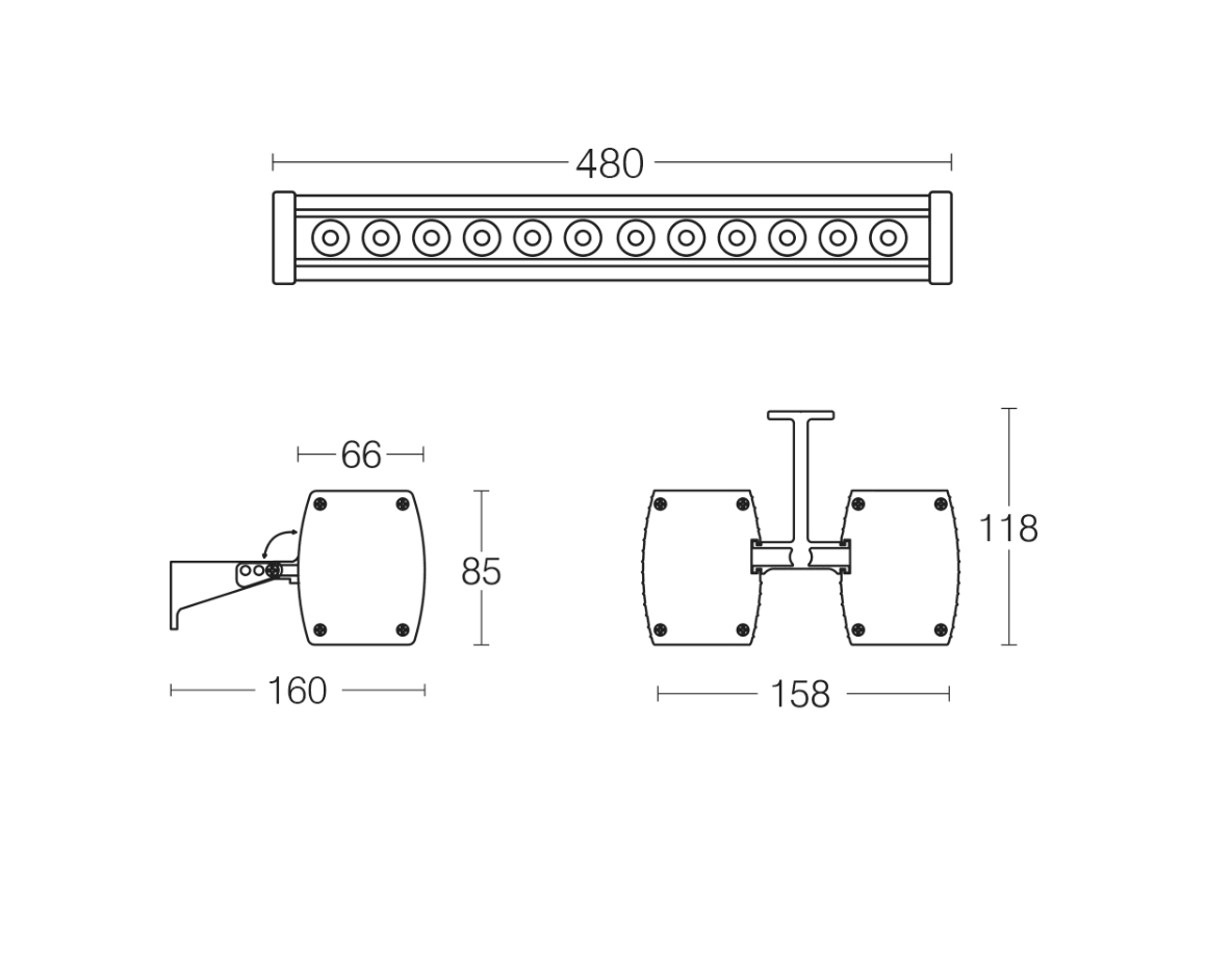 NOVA 50 LED Wall Washer Dimensions