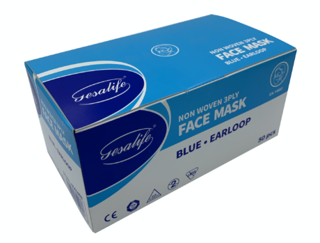 50 x Gesalife Type IIR EN14683:2019 Fluid Resistant Disposable Surgical Face Masks (FRSM)