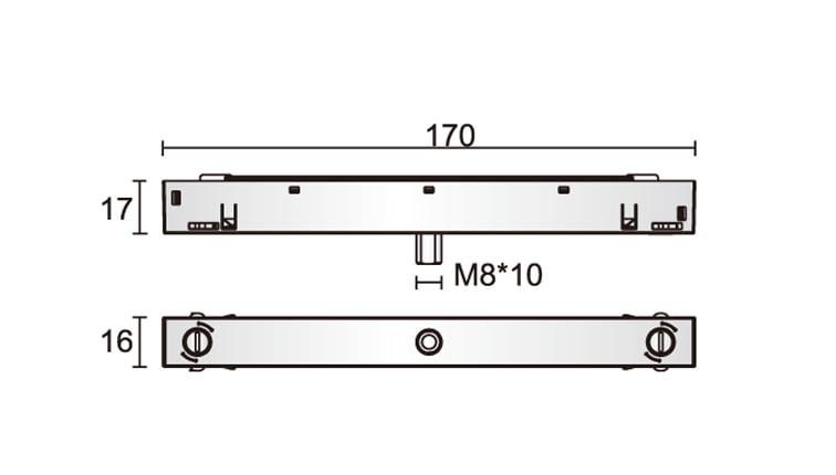 48V Track Adaptor Dimensions