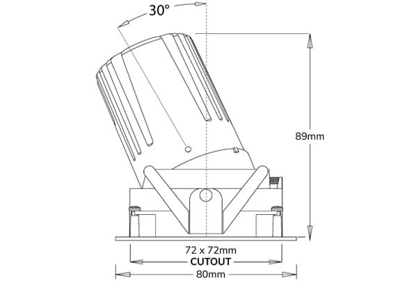 Dimensions du spot LED carré